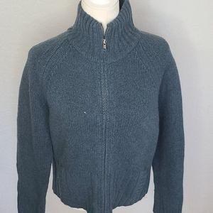 J. Crew lambswool zip up sweater blue gray XL